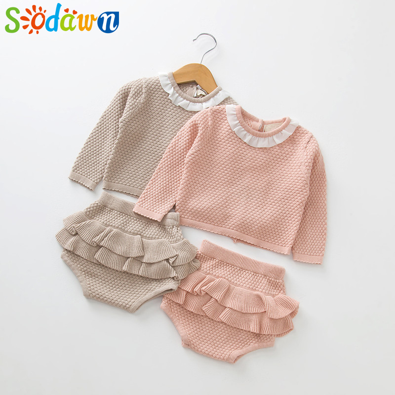 Sodawn 2018 New Spring Autumn Fashion Baby Girls Clothes Long Sleeve Knit Sweater+Shorts Sets of Children Baby Clohting Knit Set