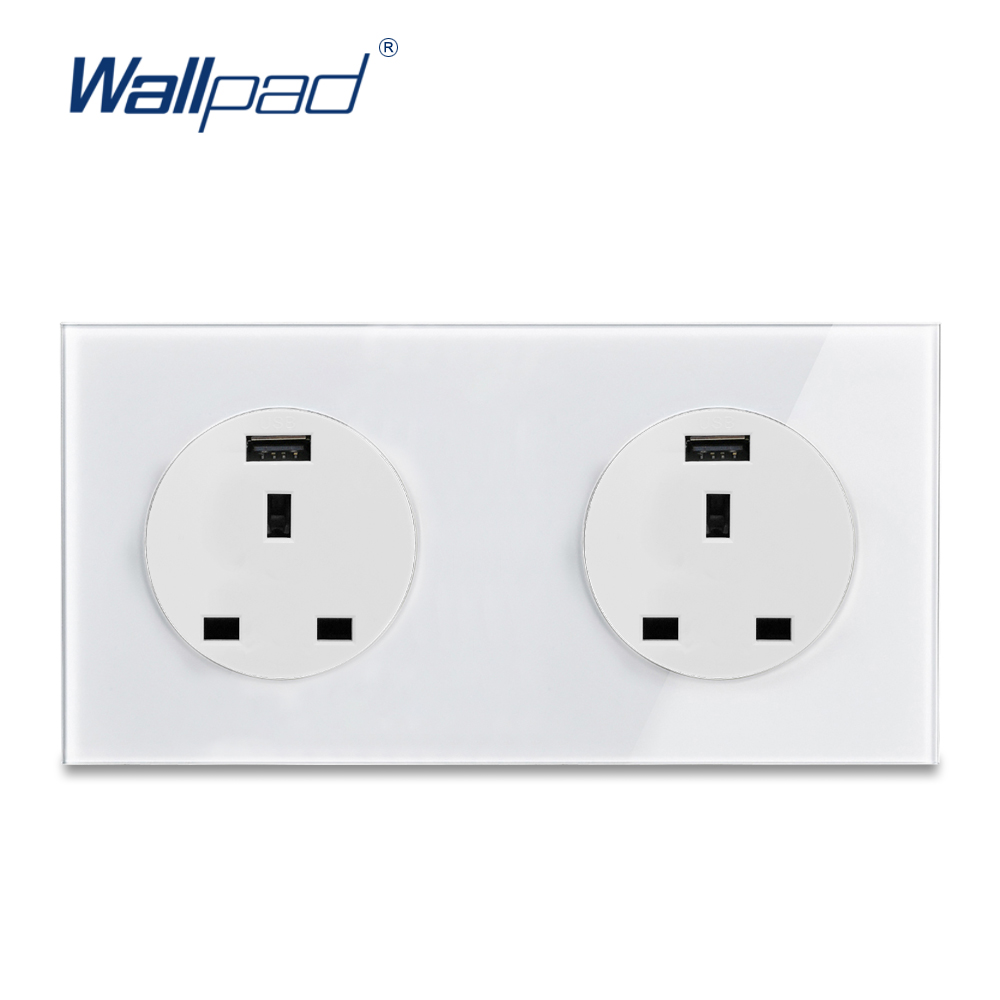 Wallpad L6 UK BS Twin 13A Plug Wall Socket Power Outlet With Double 2.1A USB Charging Ports, White Tempered Glass Panel 172*86mmWallpad L6 UK BS Twin 13A Plug Wall Socket Power Outlet With Double 2.1A USB Charging Ports, White Tempered Glass Panel 172*86mm