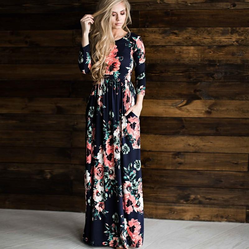 Slimbabe 2018 Women Flower Printed Dresses Bohemia O Neck Sping Summer Dress Floral Print Dress Pleated Floor Length
