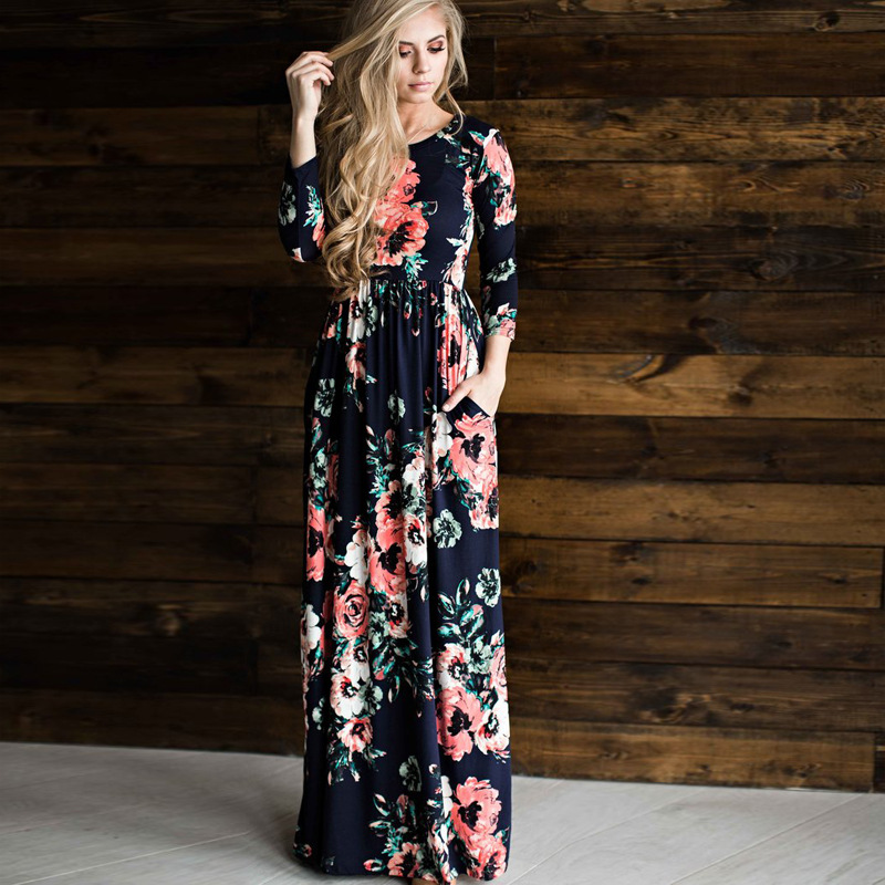 Slimbabe 2018 Women Flower Printed Dresses Bohemia O Neck Sping Summer Dress Floral Print Dress Pleated Floor Length