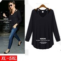 5xl plus big size blusas feminina spring autumn winter 2016 korean women long sleeve thin sexy black tshirts female A1826