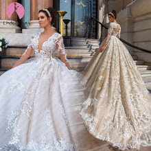 LINDO NOIVA Wedding Dress Long Sleeves Ball Gown