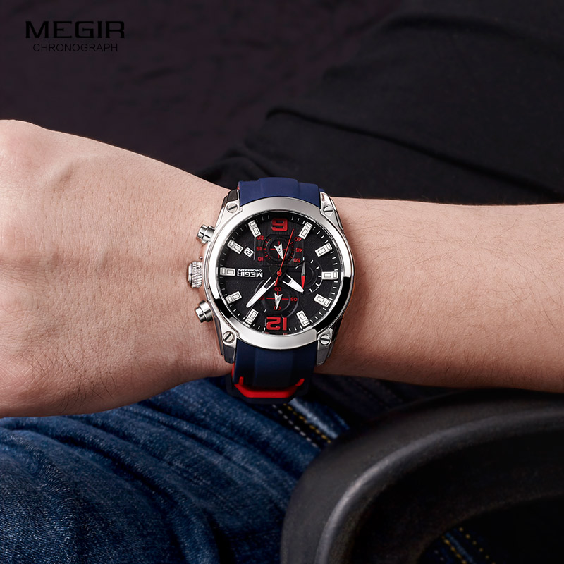 Megir Men's Chronograph Analog Quartz Watch with Date, Luminous Hands, Waterproof Silicone Rubber Strap Wristswatch for Man 4