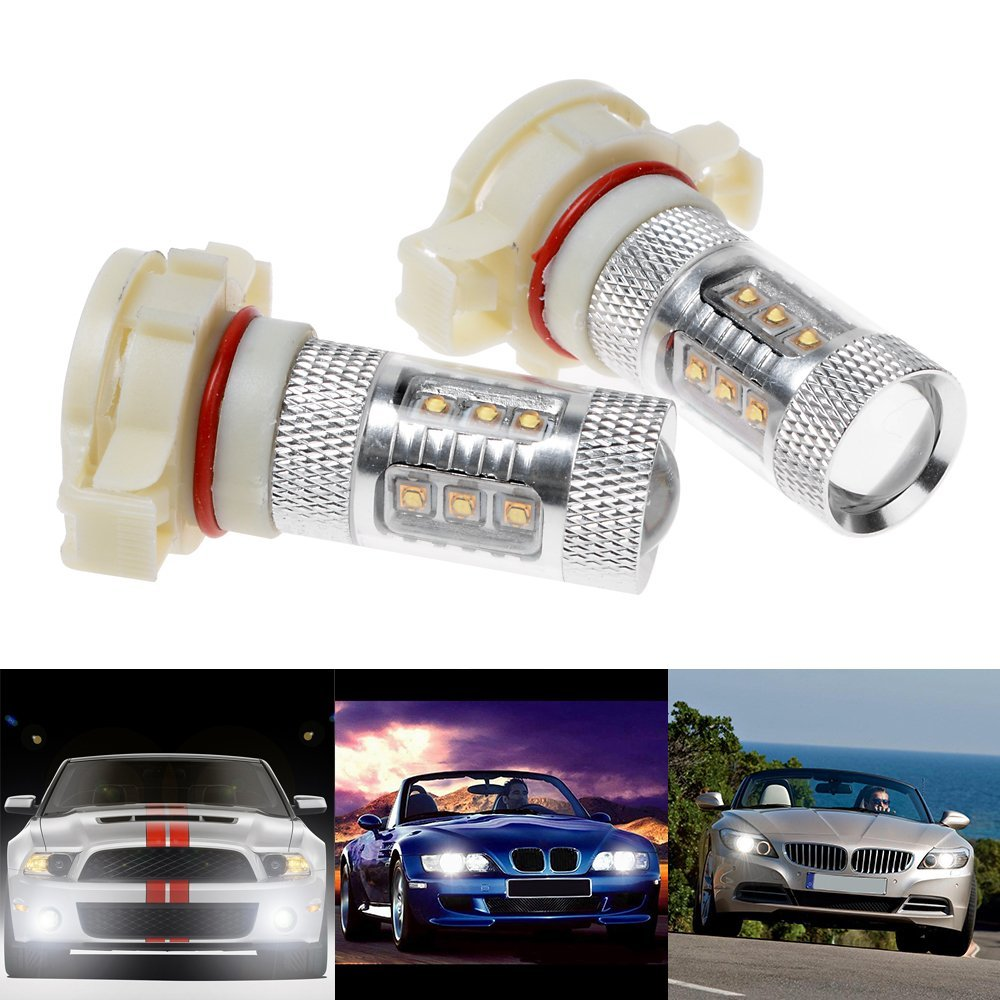 80W White CREE Chip Led H16 PS24W 5202 1200LM LED Fog Light DRL Daytime Running Lamp Blub For Cadillac Chevrolet Dodge GMC