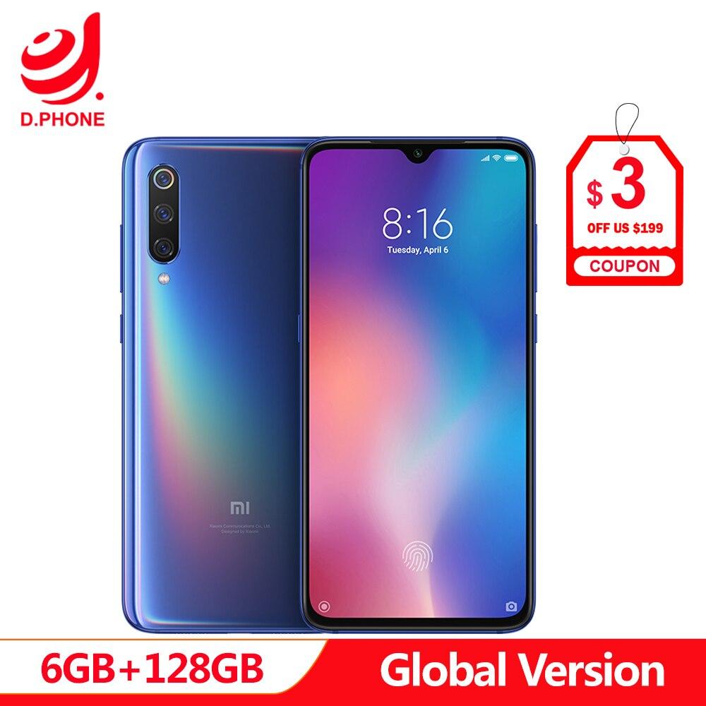 Versão Global Xiao mi mi mi 9 9 6 GB 128 GB Snapdragon 855 48MP Triplo Câmera AMOLED Telefone Móvel impressão digital de Carregamento Sem Fio NFC