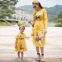 Children S Family Clothing Girls Dresses Summer Autumn New Mama Mother Daughter Dresses Cartoon Print Dress
