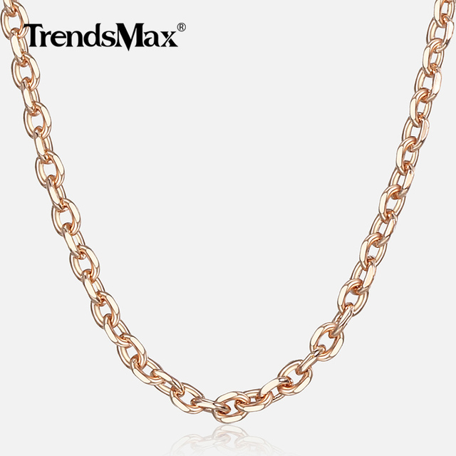 585 Rose Gold Necklace For Women Girl Thin Rolo Cable Link Chain Necklaces Elegant Woman Jewelry Gifts Dropshipping 2mm CN14