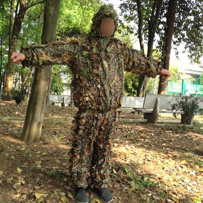 狩猟服新 3D カエデの葉バイオニック Ghillie スーツ Yowie 狙撃 birdwatch のエアガン迷彩服のジャケットとパンツ