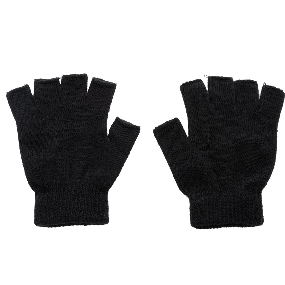 New Men Black Knitted Fingerless Gloves Autumn Winter Outdoor Stretch Elastic Warm Half Finger Cycling Gloves