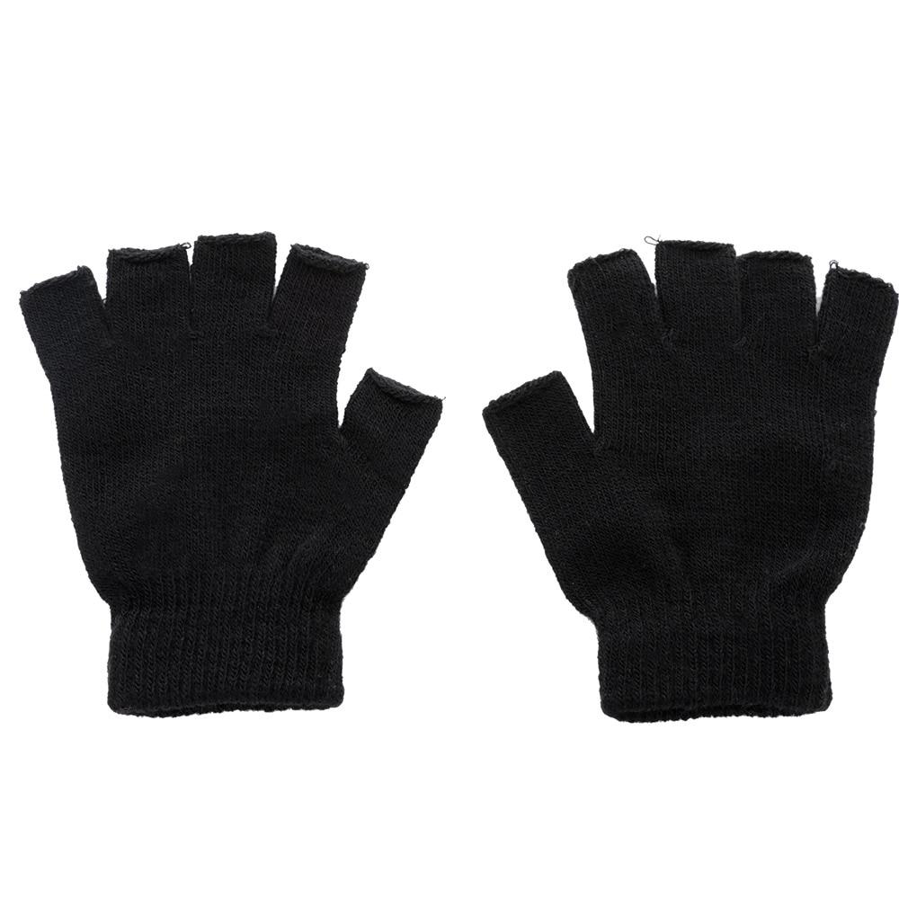 Новинка, мужские черные вязаные перчатки без пальцев, Осень-зима, уличные эластичные теплые велосипедные перчатки на полпальца