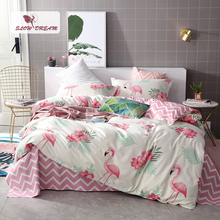 SlowDream Cartoon Flamingo Bedding Set Nordic Double Bed Sheets Duvet Cover Bedspread Adult Queen King Bed Linens Euro Set [available with 10 11] linens euro love dream