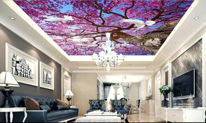 3d room wallpaper custom mural non-woven Wall sticker  Sakura dove blue sky zenith ceiling murals photo wallpaper for walls 3d 3d ceiling murals wallpaper custom photo non woven sky dandelion dove leaves painting 3d wall mural wallpaper for living room