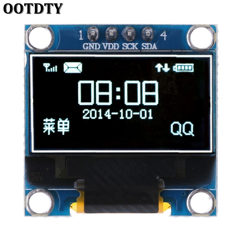 OOTDTY 0.96 inch IIC Serial White OLED Display Module 128X64 I2C SSD1306 12864 LCD Screen Board GND VCC SCL SDA for Arduino