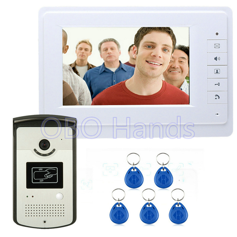 Free shipping 7'' wired color video door phone Intercom system video doorbell kit IR 1 outdoor camera +1 monitor 819MEID11 free shipping 7 wired video door phone access control doorbell intercom system kit 2 camera 1 monitor ir night vision 817mkw21