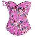 Rosa padrão Floral Zipper Denim Jeans Corset Tops Burlesque Sexy Espartilhos E Bustiers novo 2015 Corpete E Corseletes Espartilhos