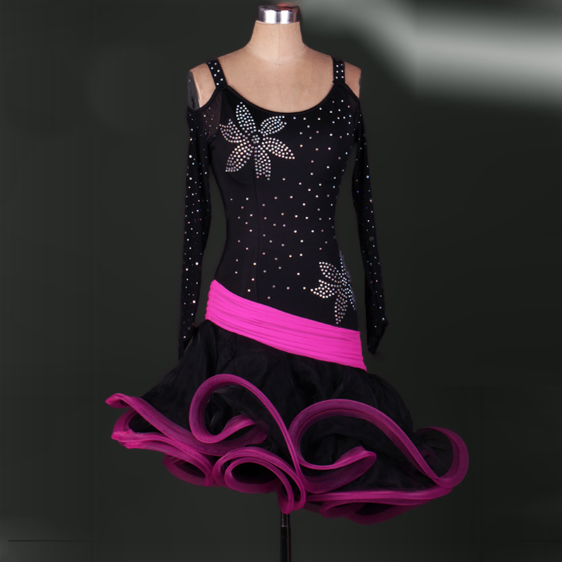 High-grade diamond Latin Dance Dress Lastest Strapless long sleeved Latin dance competition dress