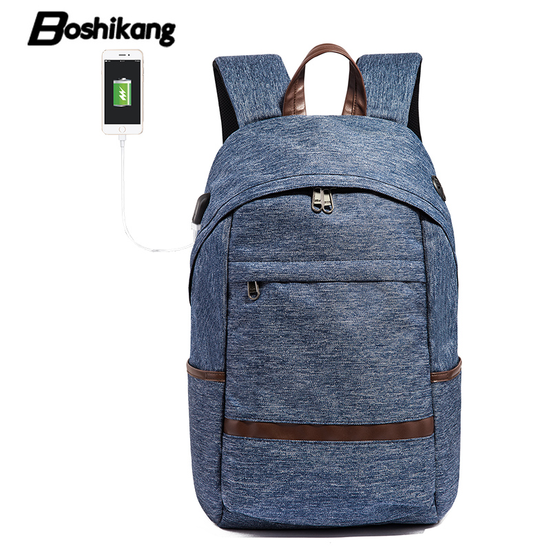Boshikang Usb Charge Men Laptop Backpack Waterproof Computer Notebook Backpack Fashion Men&women College School Bag For Teenager