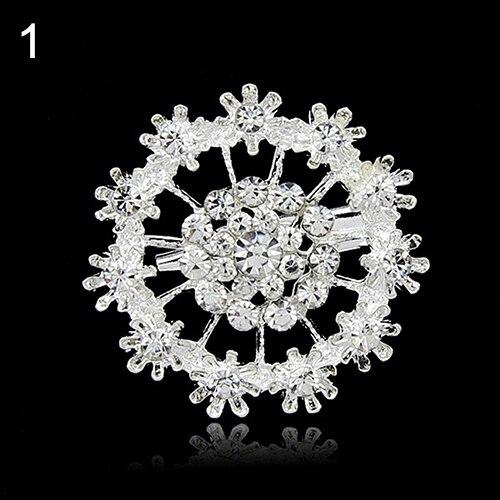 24 Pcs Flower Heart Rhinestone Silver Plated Brooch Pin Wedding Bridal Broach Breastpin