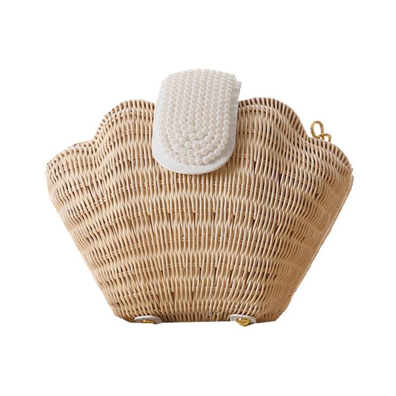 Mermaid Pearl Shell Design Knitting Straw Beach Bags Summer Crossbody Bag for Gi