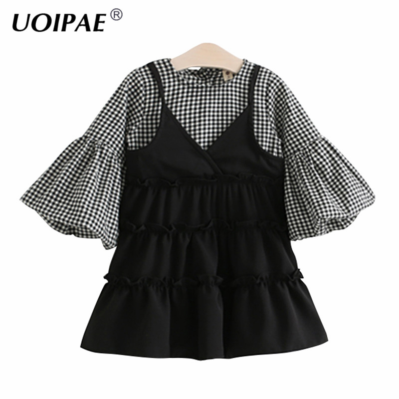 Girl Dress Children Spring 2017 New Fashion Plaid Dresses For Girls Simple Speaker Sleeves Cute O-neck Kids Clothes Girls 6472W 2017 new fire maple 2 3 persons outdoor cutlery pot set camp cooking cookware portable outdoor camping tablewares fmc 208 448g