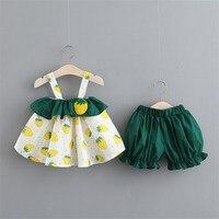bb60f392d Conjunto de ropa para niña con hombros descubiertos estampado Floral Tops  volantes encaje conjunto pantalones cortos niños pequeños 2019 trajes ...