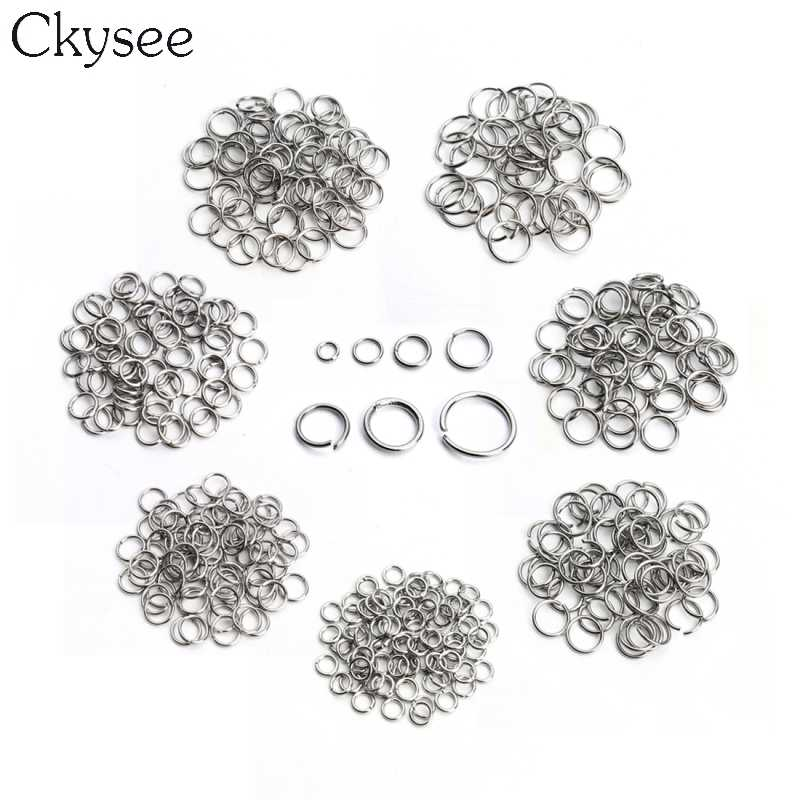 Ckysee Wholesale 200pcs/bag Stainless Steel Round Open Jump Rings Rhodium Color Split Rings Connectors for DIY Jewelry Making