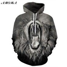 Amoma realistas unisex 3D Impresión digital Sudadera con capucha del suéter  boca abierta a998fcf57003