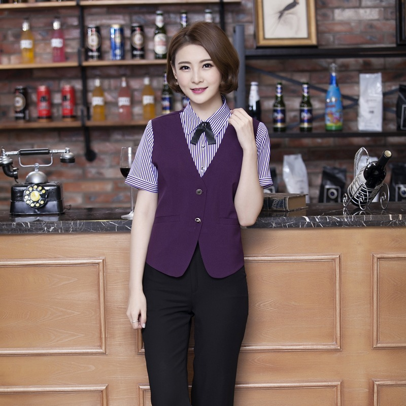 Hotel Waitress Overalls Chinese Restaurant KTV Cafe Catering Female Uniform Fast Food Shop Women Work Wear Fake 2 Pieces H2388