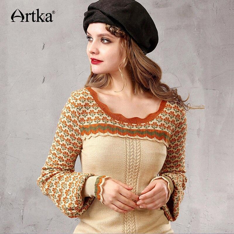 ARTKA Winter Women s Wool Sweater Jacquard Knitted Sweater Female Lantern Sleeve Pullover Ruffle Sweater Women