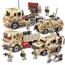 KAZI Военная серия полевые силы вооружённая модель автомобиля сборка игрушки для детей интеллект Обучающие блоки игрушки 6 + 84024-2