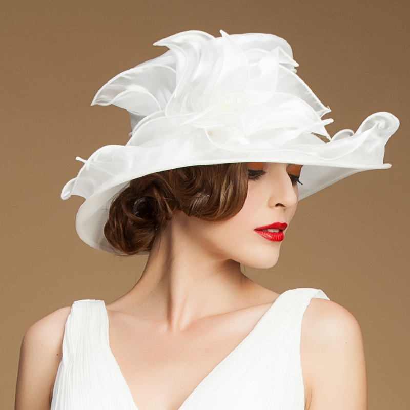 Smart Wave organza sinamay hats women evening church ladies wedding wide  brim hat-in Fedoras from Apparel Accessories on Aliexpress.com  9096e3015fc
