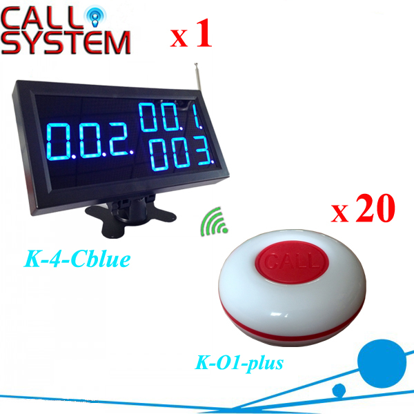 Cheapest Electronic calling buzzer system for customer waiter use 20 bells 1 monitor with CE