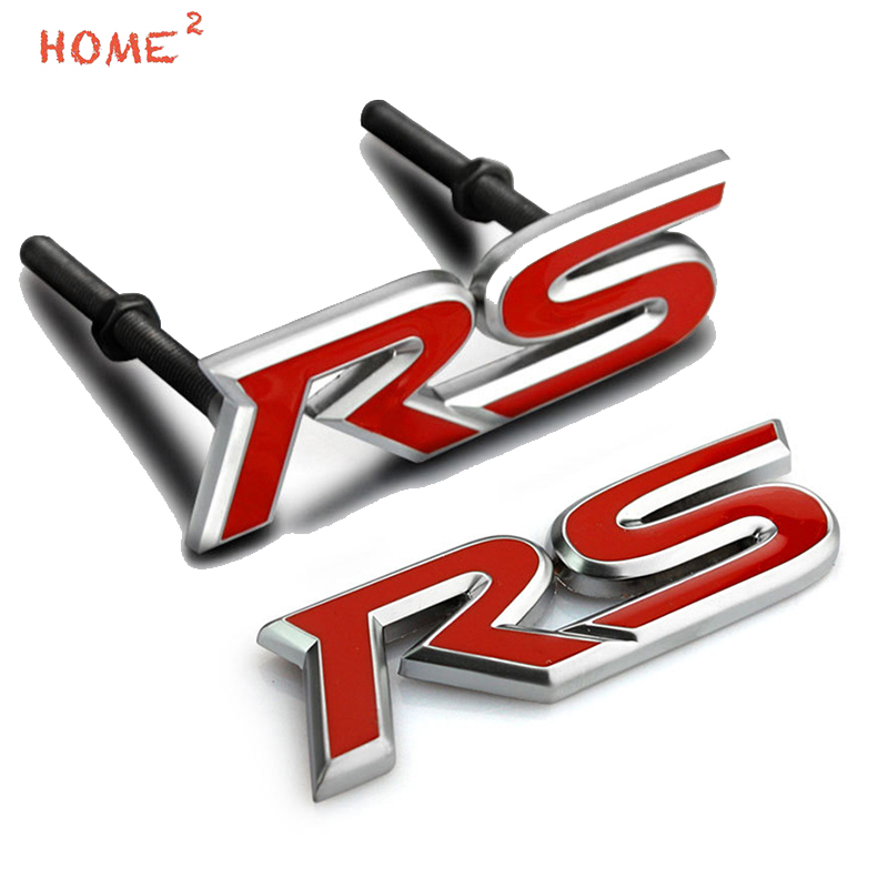 Car Styling Metal Rear Trunk Sticker Decal Auto Front Grille Emblem Badge for RS Logo for Ford fiesta focus 2 3 Mondeo Kuga f150