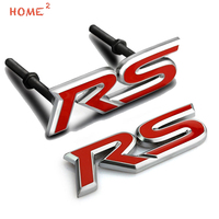 Car Styling Metal Rear Trunk Sticker Decal Auto Front Grille Emblem Badge For RS Logo For