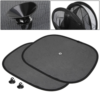 New 2Pcs Car Window Sunshade Sun Shade Visor Side Mesh Cover Shield Sunscreen Black 44 x 36 cm qyh image