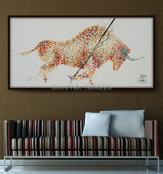 Modern abstract bull oil paintings on canvas pop art animals running bull pop art wall pictures for living room home decor