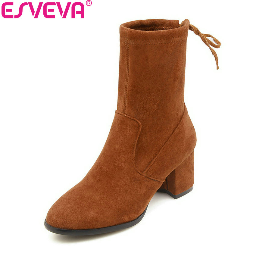 ESVEVA 2019 Women Boots Round Toe Spring Square Heels Mid-calf Boots Autumn Shoes Lace Up Elegant Fashion Boots Woman Size 34-43 цены онлайн