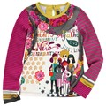 El Envío Libre 2013 otoño Catimini muchacha de la Ciudad impreso manga larga t-shirt fille boutique 95% algodón camiseta top de los niños