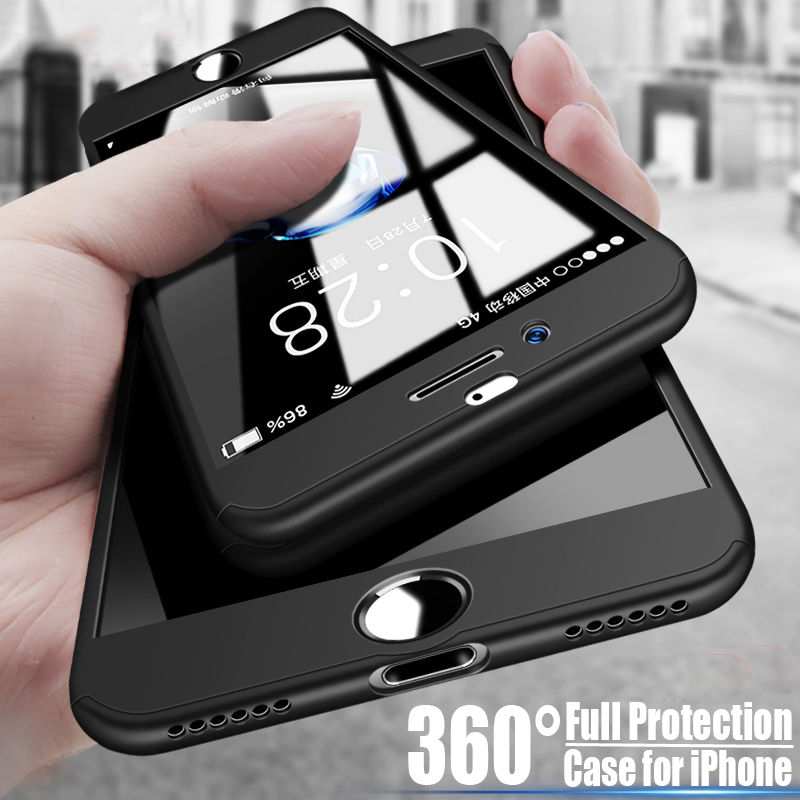For Iphone 6 6S Plus Case 360 Degree Coverage Full Protection Iphone 5 5S SE Hard PC Cover + Temple Glass Screen