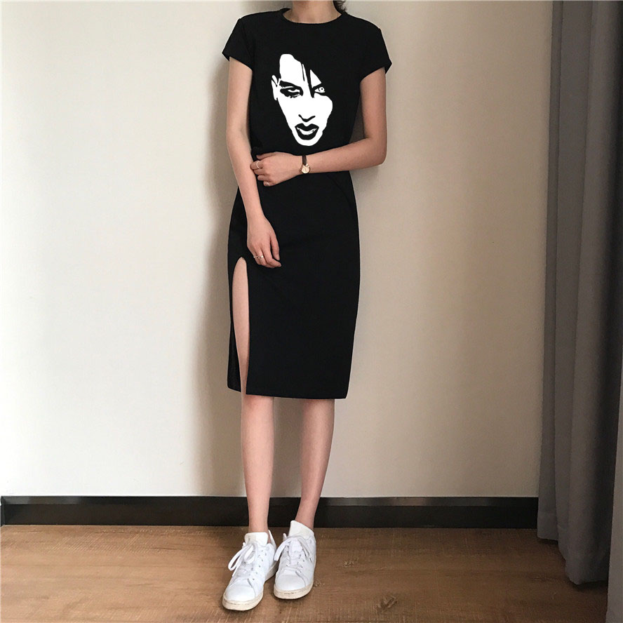 Laukexin T Shirt Marilyn Manson Rock Band Women's Black Long Evening Party O neck Sexy Dresses Clubwear shirt Female