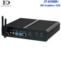 Barebone безвентиляторный Мини ПК настольный компьютер 6th Gen core i7 6500u Skylake Процессор Оконные рамы 10/7/8 неттоп DP + HDMI 1 * Слот для карты SD Wi Fi