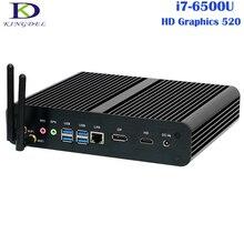 Barebone безвентиляторный Мини-ПК настольный компьютер 6th Gen core i7-6500U Skylake Процессор Окна 10/7/8 неттоп DP + HDMI 1 * Слот для карты SD Wi-Fi