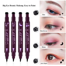 1PC Dual-ended Waterproof Black Liquid Eyeliner Pencil Makeup Cosmetic Tools Heart/Star With Tattoo Stamping Seal Eye Liner Pen