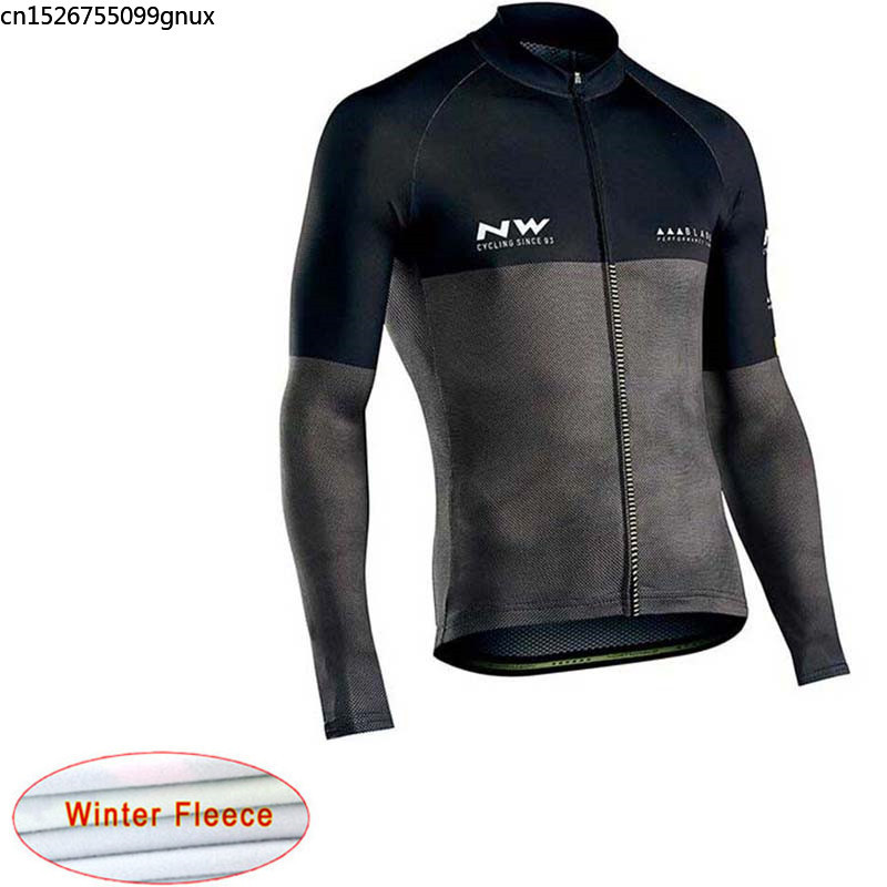 NW 2019 Winter Thermal Fleece NW Cycling Jersey Long Sleeve Racing Bicycle Mountain Clothing Maillot Ropa Ciclismo Hombre C28(China)