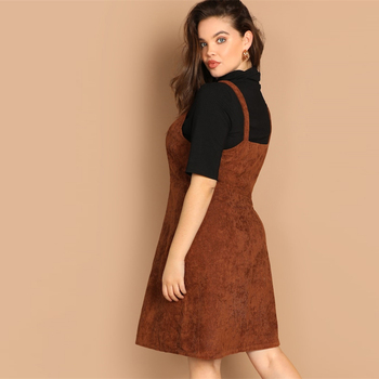 Plus Size O-ring Zip Front Corduroy Pinafore Fit And Flare Spaghetti Strap Dress
