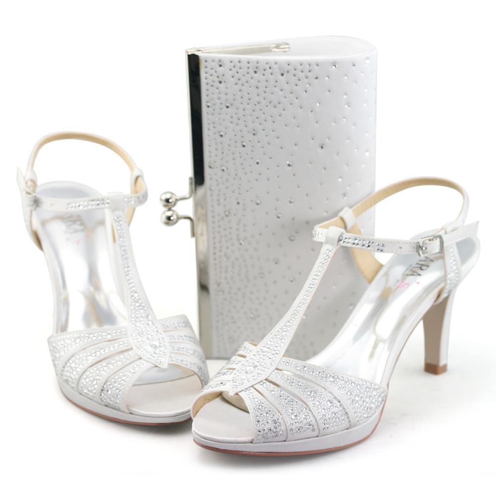 Silver sandals or shoes - Aliexpress Com Buy Lara S Ladies 3 5 High Heel Sandals Wedding Shoes With Matching Bags White Silver Strappy T Bar Sandels Woman Satin Heeled New From