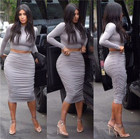 Sexy Two Piece Outfits Kim Kardashian Bodycon Bandage Club Dress Fashion Crop Top 2 Piece Set