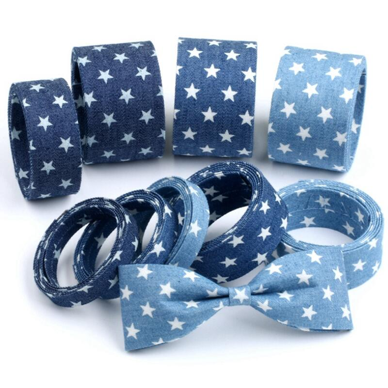 10 Meters Printed Stars Denim Ribbon Handmade Hairbow Apparel Sewing Gift Package Christmas Decoration DIY Craft Supplies
