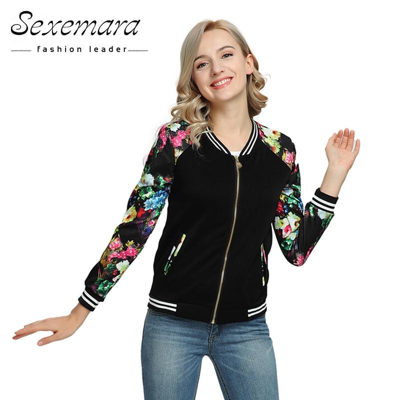 Bomber Baseball Spring Autumn Jacket For Women 2019 Fashion Zipper Basic Long Sleeves Printed Casual Sunscreen Outerwear Coat