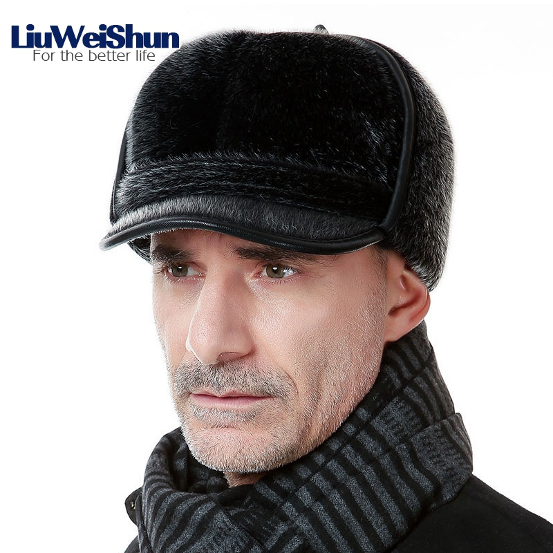 ae771c956ef 2017 New Warm Bomber Hats Men Quality Russian Snow Hat Men Winter Hat Caps  with Earflaps Retro Faux Fur Thicken Outdoor Bonnet